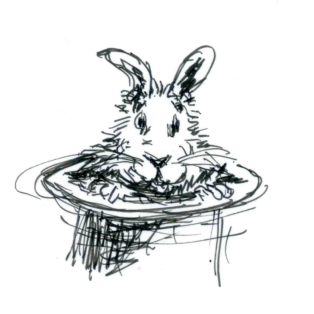 Sketched cartoon of a rabbit emerging from a top hat. Art by Earle Levenstein.