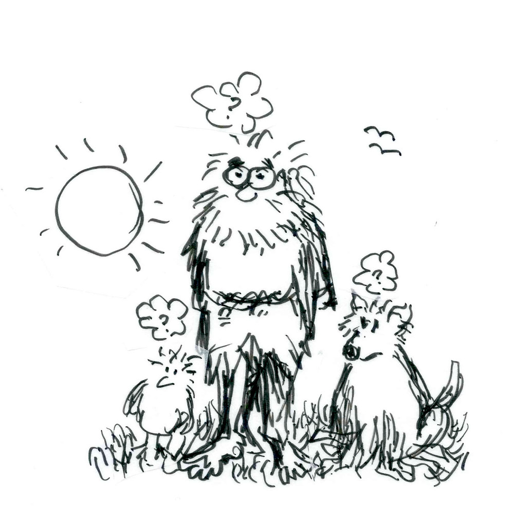 Cartoon sketch of a barefoot bearded man standing in the grass on a sunny day beside a bird and a dog. All have question marks in thought bubbles above their head. Illustration by Earle Levenstein.