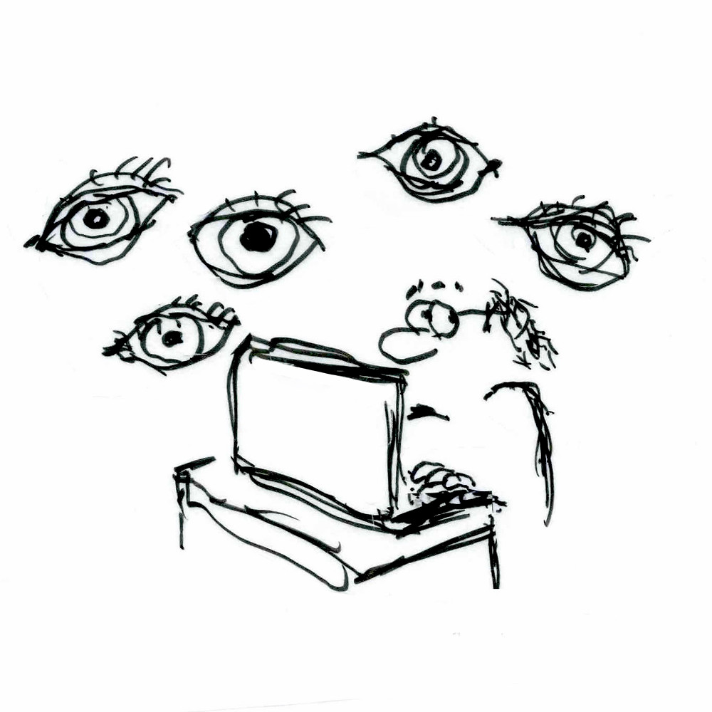 Cartoon sketch of a man on a laptop computer, surrounded by eyes hovering around him. Illustration by Earle Levenstein.
