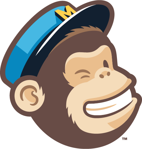 """MailChimp logo  - """"Freddie"""" the cartoon MailChimp winking monkey mascot, wearing a blue mailman's cap with a yellow M in the center of a black brim"""