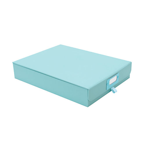 Organizing Mistakes: Don't buy useless document storage boxes that you'll never open - Light blue document storage box from See Jane Work