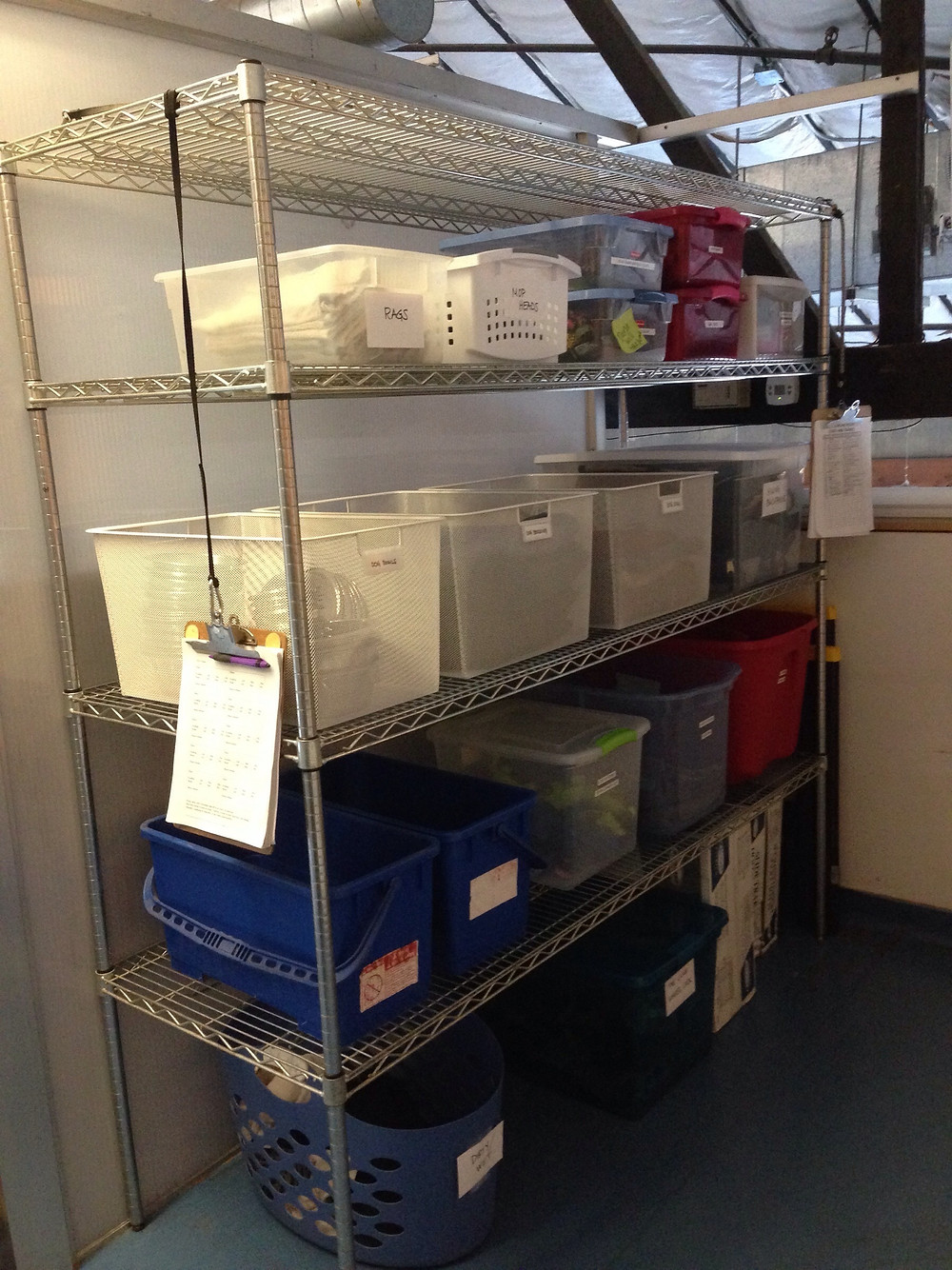 OLWH: Organizing for Dogs - and Humans -- Larger bins on racks with a designated clipboard for tracking inventory