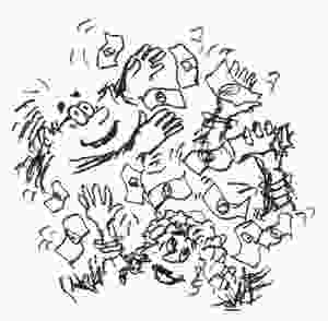 Cartoon sketch of several people grabbing at money seemingly falling from the sky. Illustration y Earle Levenstein.