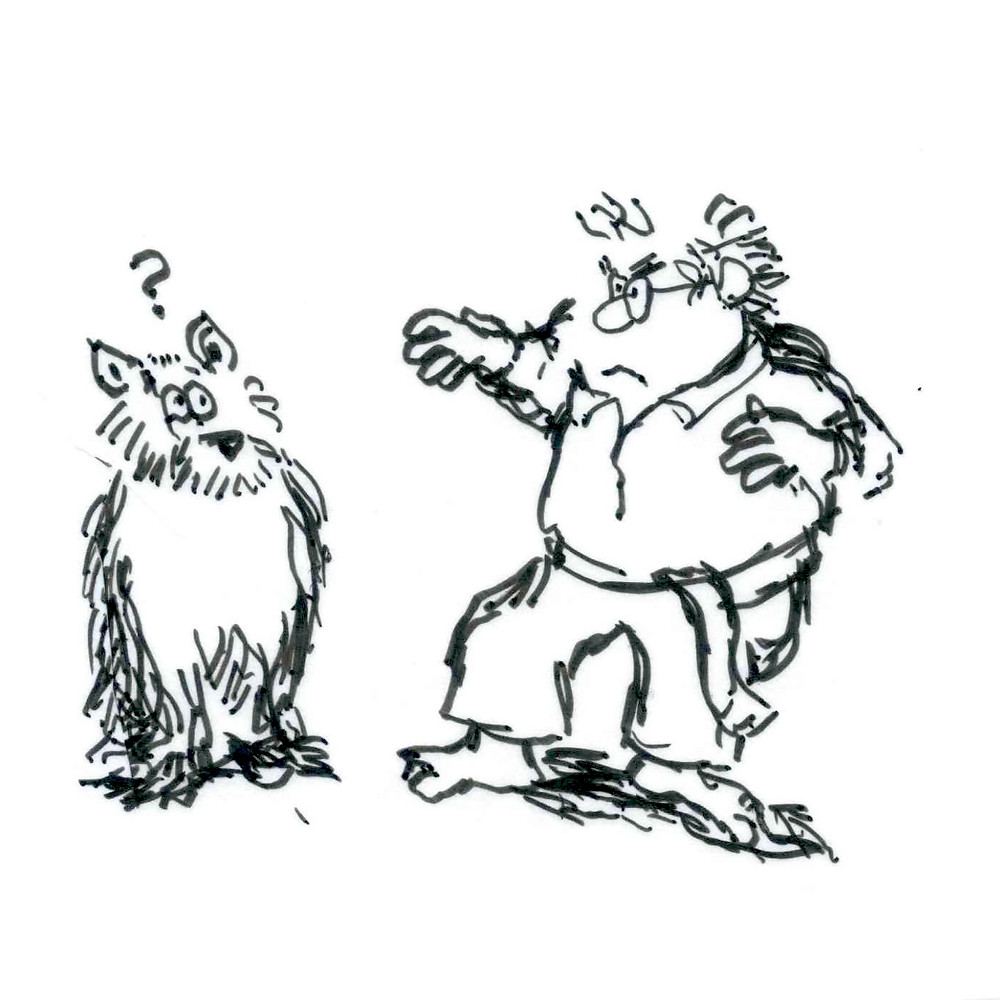 Cartoon sketch of a man in a karate uniform posing in front of a dog that has a question mark over its head. Illustration by Earle Levenstein.
