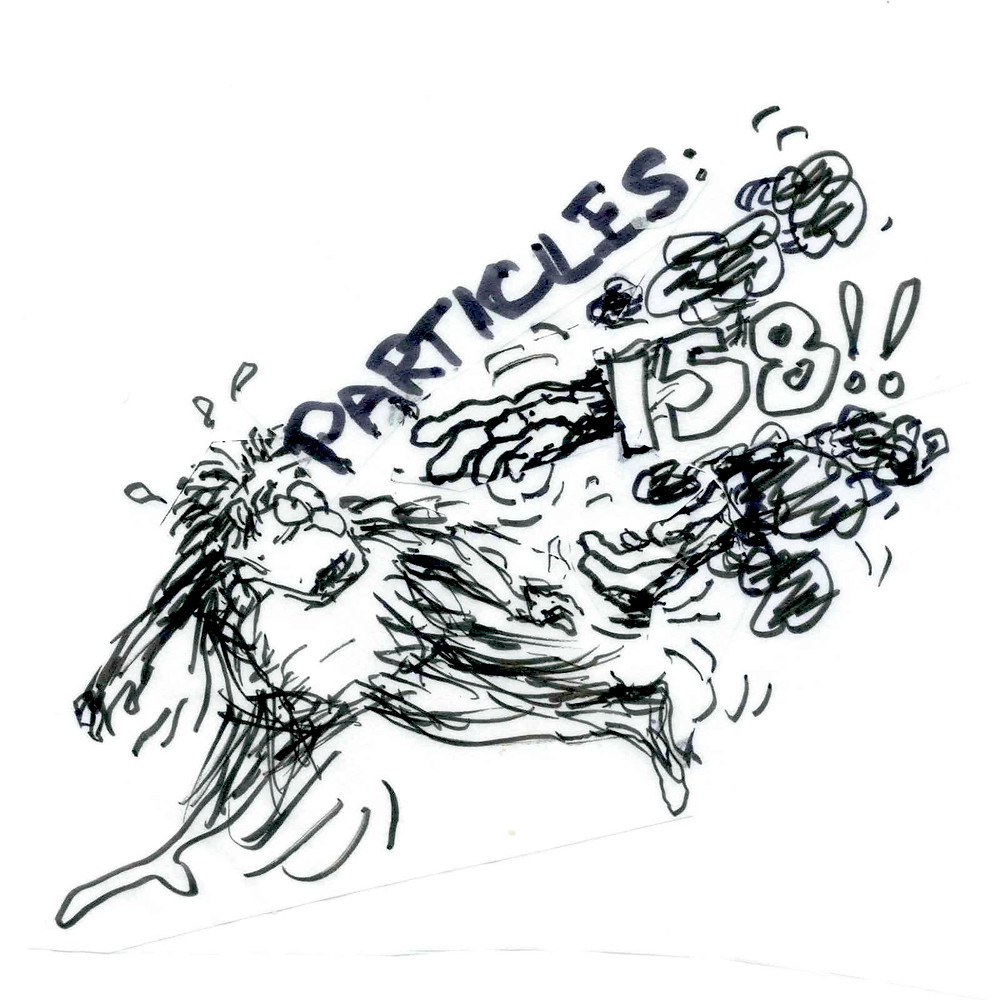 Cartoon sketch of a man running away from a cloud of bad weather-related words and numbers: Particles, 158!!, and puffs of smoke. A hand reaches from behind the number 158. Illustration by Earle Levenstein.