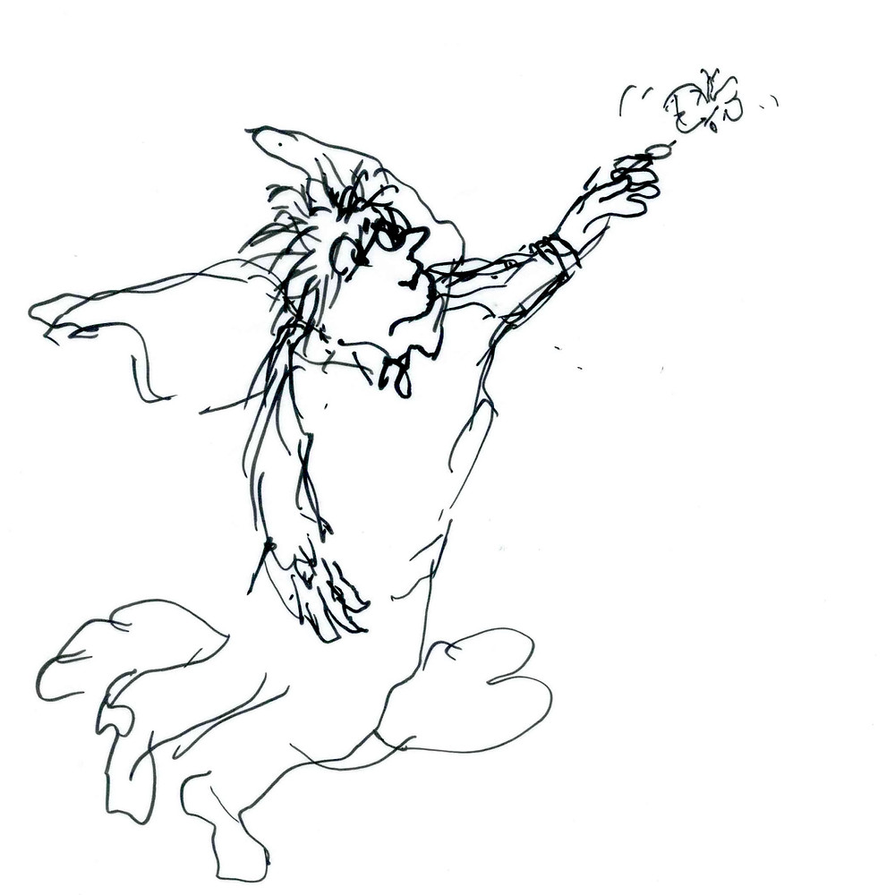 Cartoon sketch of an angel-like being reaching up and touching a butterfly with one finger. Illustration by Earle Levenstein.