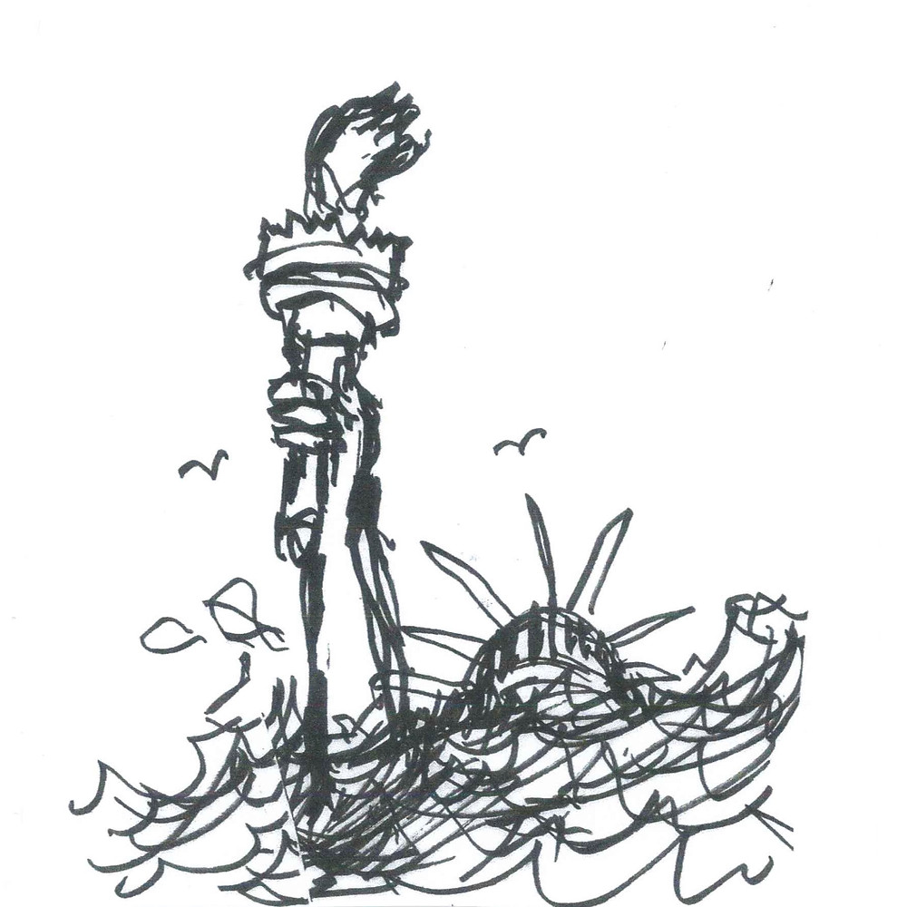 Cartoon sketch of the Statue of Liberty, submerged in water, with birds flying overhead. Illustration by Earle Levenstein.
