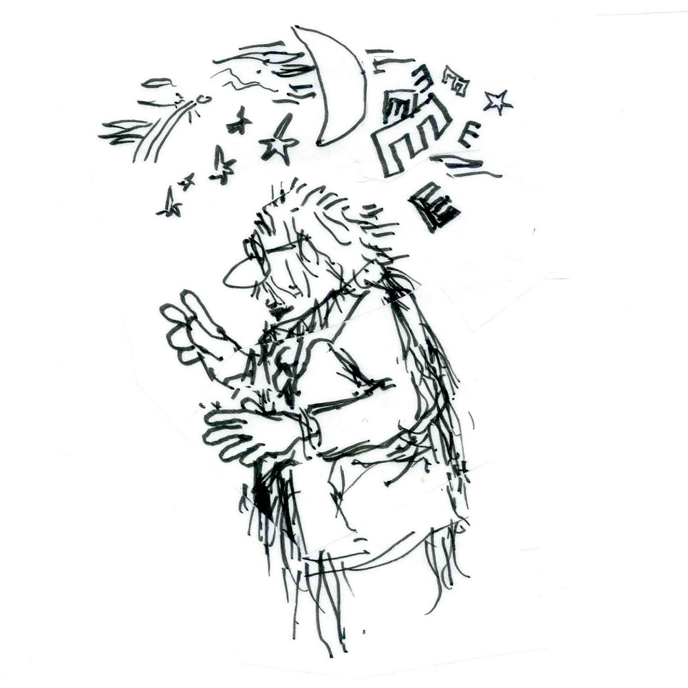 Cartoon sketch of a man in glasses looking to the left, with a crescent moon, stars, and several letter Es overhead. Sketch by Earle Levenstein.