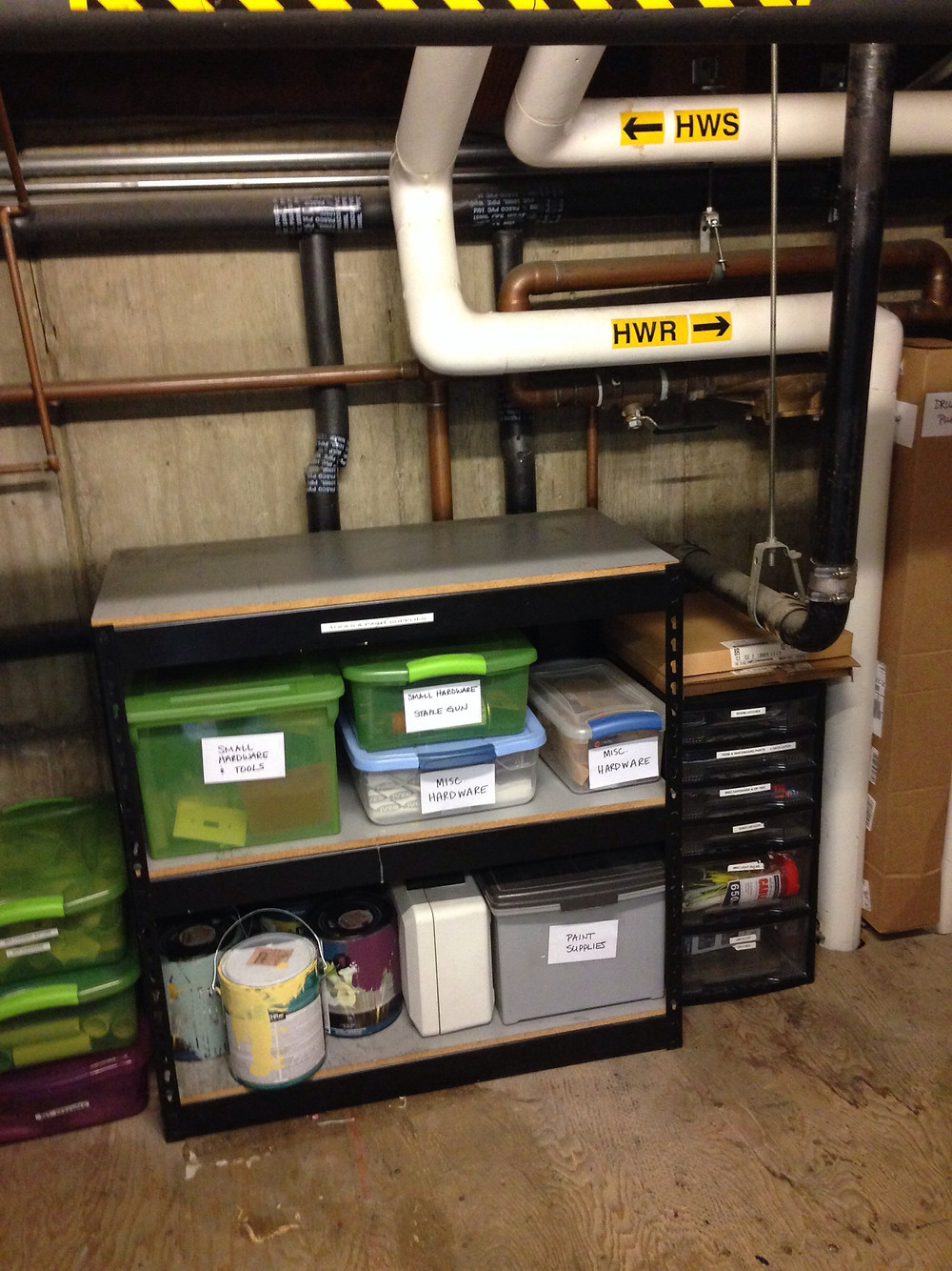 OLWH: Organizing for Dogs - and Humans -- Making use of all available storage space with bins of various sizes