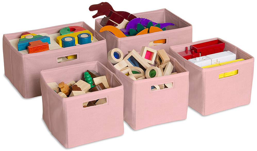 OLWH: A Checklist for Managing Toys - Guidecraft Pink Cotton Storage Baskets filled with toys