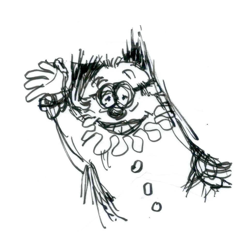 Cartoon sketch of a clown with a frilly collar and wild hair waving at the viewer. The clown has glasses and an exaggerated nose and toothy smile. Cartoon by Earle Levenstein.