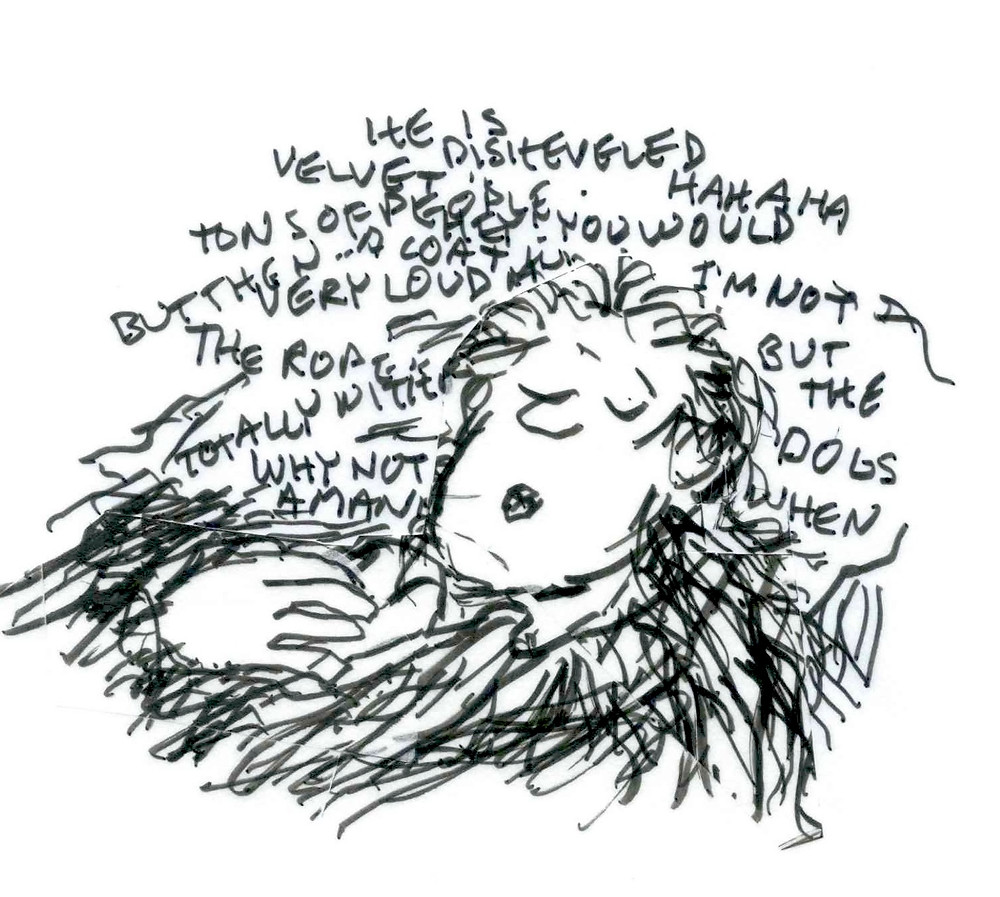 Cartoon sketch of a man resting with words floating all around him: He is disheveled, Hahaha, velvet, tons of people, but then... a goat. And more. Illustration by Earle Levenstein.