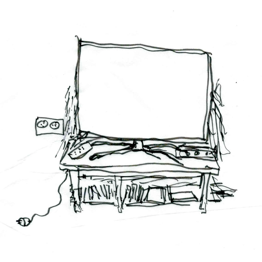 Cartoon sketch of a television on a stand with an outlet next to it; the television is unplugged. Remotes and controllers are scattered on the tabletop, while DVDs and books line the shelf underneath. Cartoon sketch by Earle Levenstein.