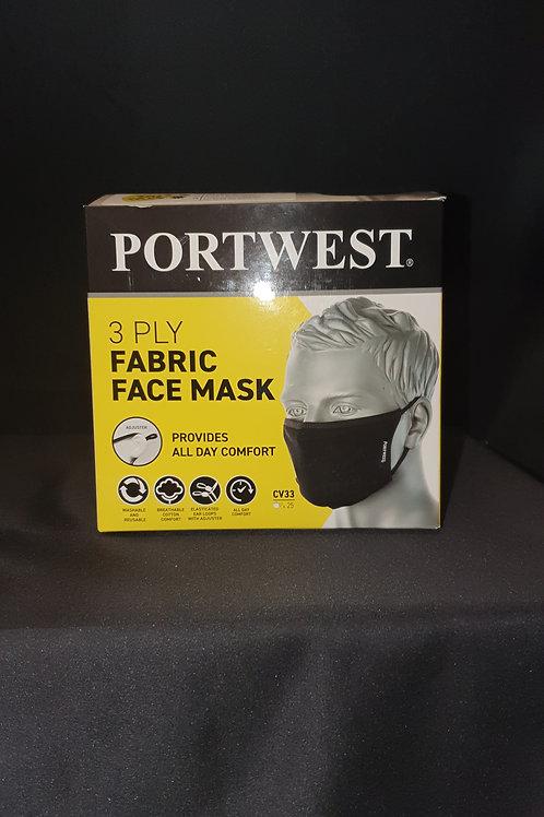 Portwest  Anti-Microbial reuseable face masks, 25 per box.