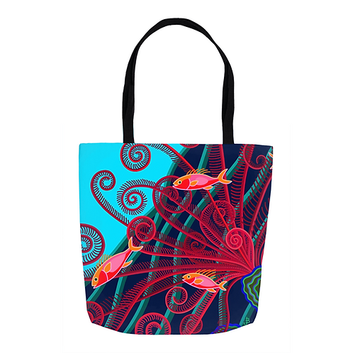 Turquoise and Scarlet Plumes Tote