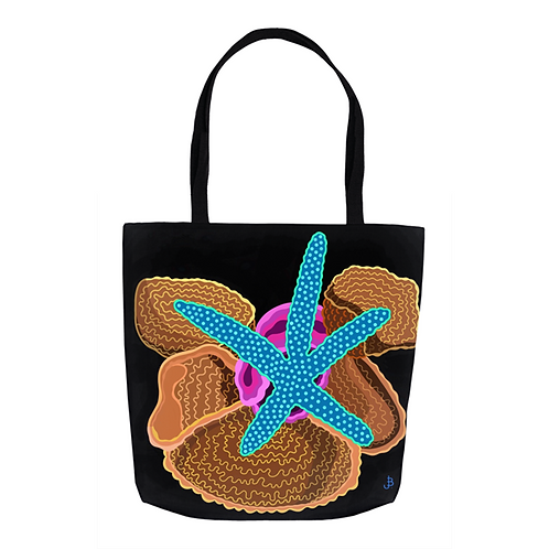 Blue Starfish on Jet  Tote
