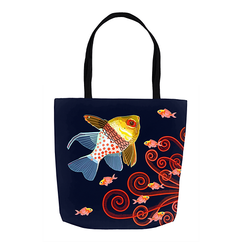 Pajama Cardinal Fish with Scarlet Fronds on Jet Tote
