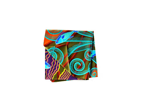 Plumes Tangerine  & Teal Pocket Silk