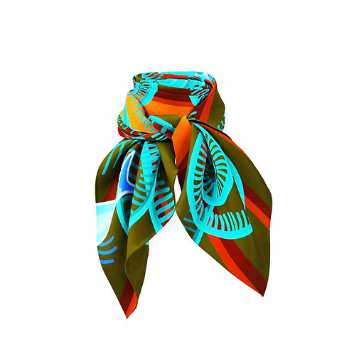 Plumes Tangerine  & Teal  Mini Silk