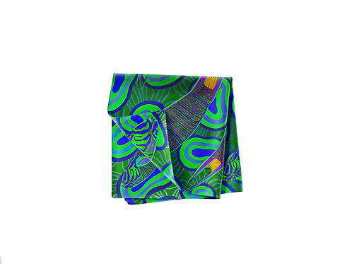 Moon Wrasse Lapis & Lime Pocket Silk