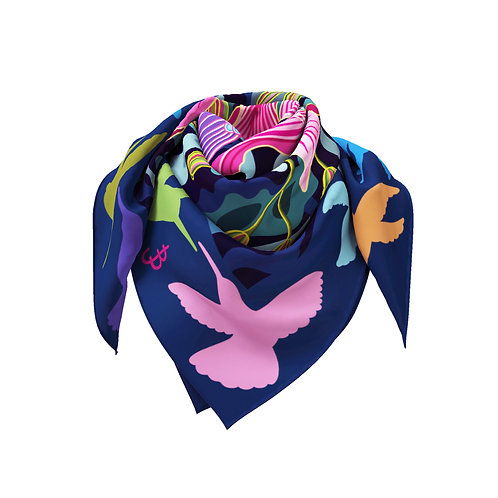 Hummingbird with Orchid Tree Bloom Classic Silk