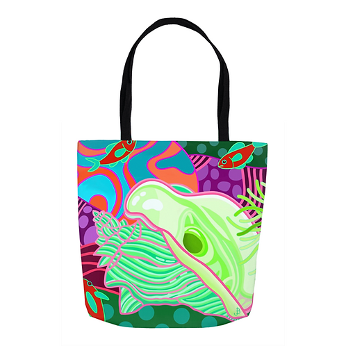 Mint Green and Cherry Conch & Chromis Tote