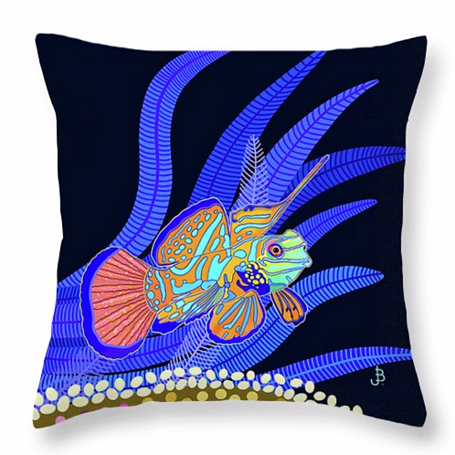 Mandarin Dragonet on Jet Pillow