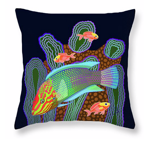 Checkerboard Wrasse on Jet Pillow