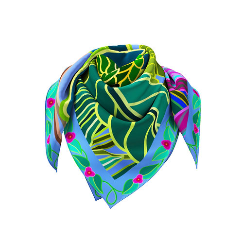 Cayman Parrot with Fuchsia Flowers and Cornflower Blue Border Classic Silk