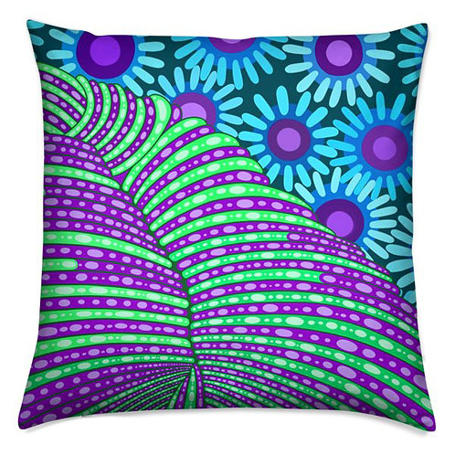 Violet & Aqua Flower Anemone  Pillow