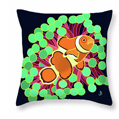 Clown & Anemone on Jet Pillow