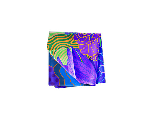 Violet Seahorse with Feathers & Anemone Pocket Silk