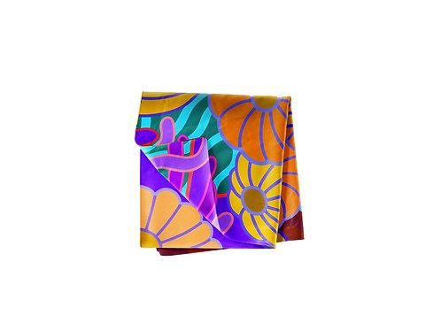 Amethyst & Tangerine Sea Daisy Pocket Silk