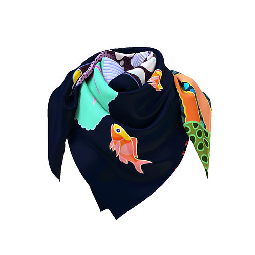 Spotted Triggerfish on Jet Classic Silk