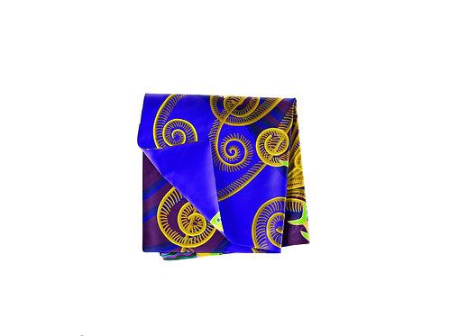 Plumes Cobalt Blue & Yellow Ochre Pocket Silk