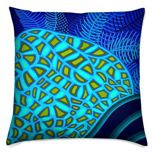 Olive and Turquoise Ferns Pillow