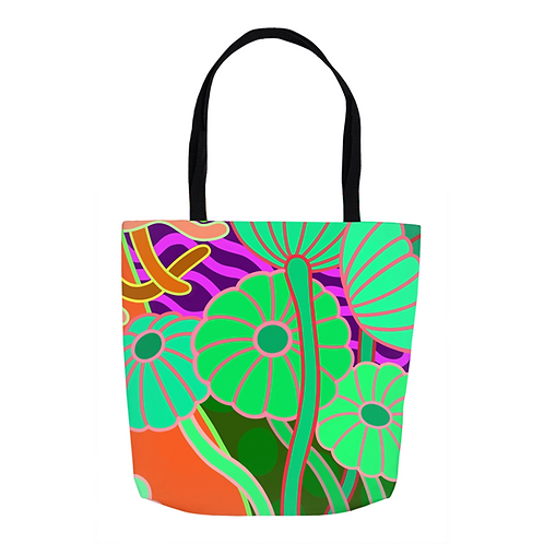 Lime & Tangerine Daisy  Tote