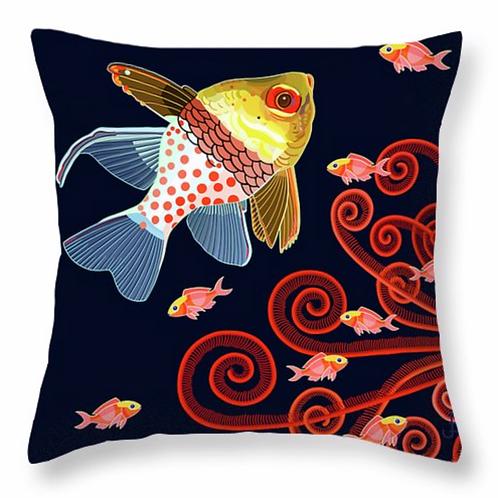 Pajama Cardinal Fish with Scarlet Fronds on Jet Pillow