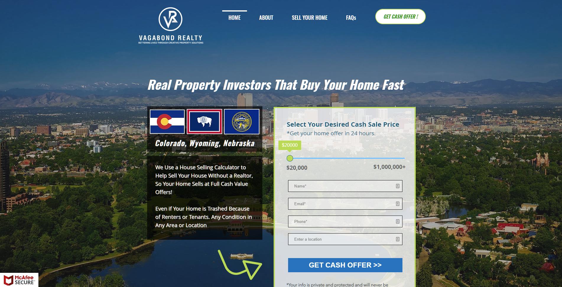 Vagabond Realty Wyoming - Daniel James Media Website Design