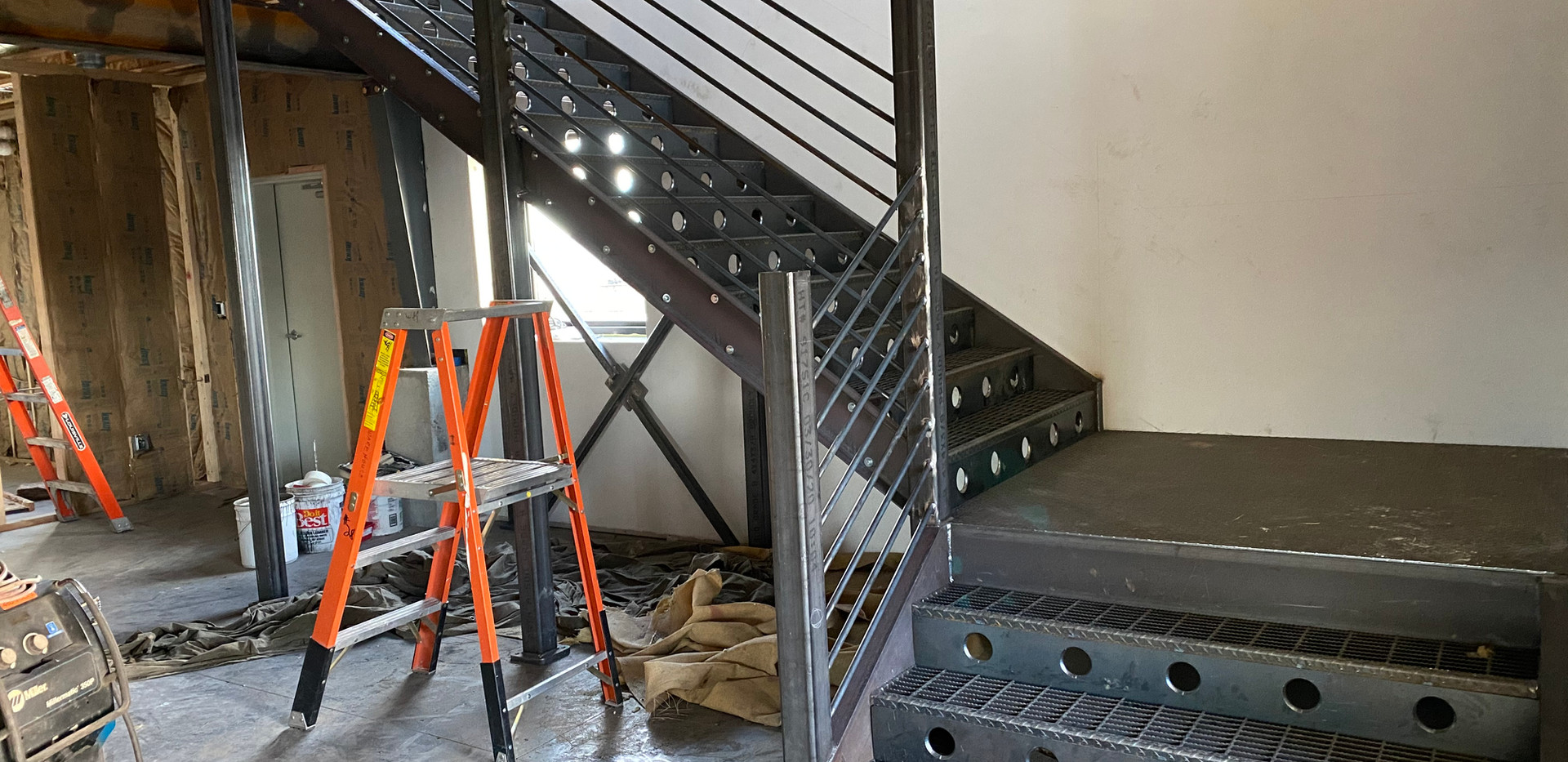 staircase stairs steel build with weldin