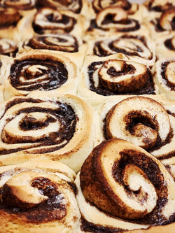 A new batch of Cinnamon Rolls going into the oven now! Hot and ready for you to pick up in 30 mins!