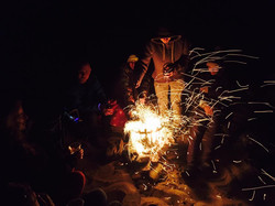 Fire on the beach at Pride Camp