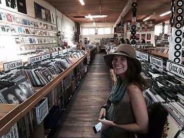 Amanda McCabe in a record store