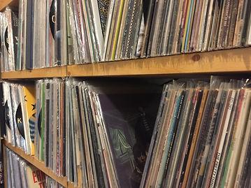records on a shelf