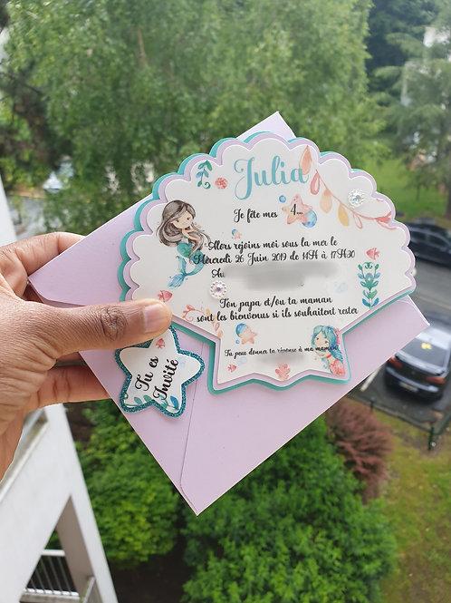 Carte invitation Sirène