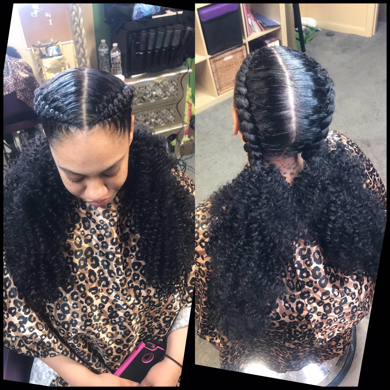 2 Feedin w/ added end hair
