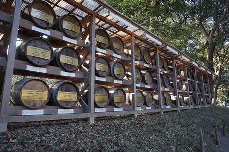 Burgundy barrels at Meiji Jingu