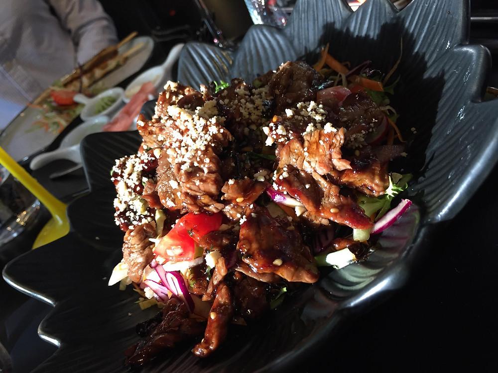 A lovely beef salad at Sakura Fusion