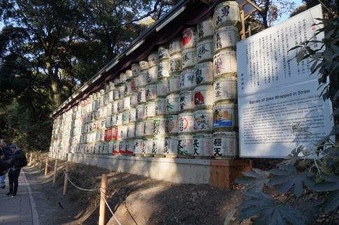 Sake barrels at Meiji Jingu