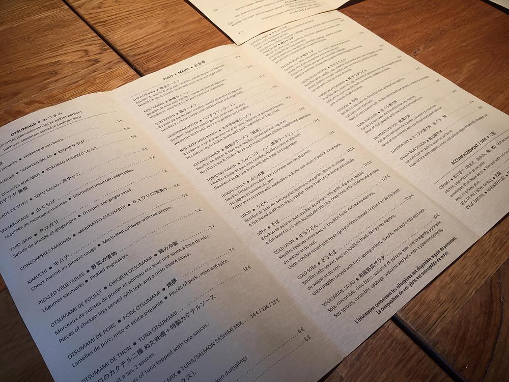 The menu at Kokuban - Ordinary Brussels